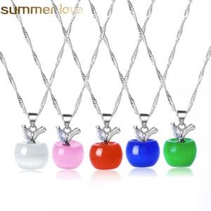 Sevimli Elma Kolye Kolye Pembe Opal Taş Kolye Gümüş Link Zinciri Meyve Kolye Kadınlar için Kız Moda Güzel Takı Hediye