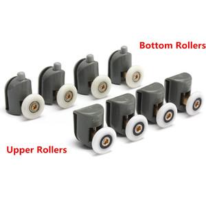 8pcs roulettes de porte de douche supérieure et inférieure coureurs mis en place des pièces de rechange roues en verre poulies guides