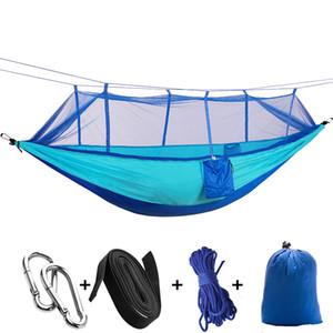 Moustiquaires de camping en plein air Hamac Léger Parachute Nylon Camping Hamacs Sacs de couchage pour la randonnée Voyage de randonnée