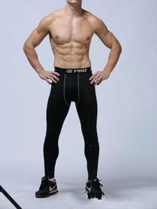 Erkek sıkıştırma pantolon spor koşu tayt basketbol spor salonu pantolon vücut geliştirme joggers skinny tayt pantolon Tam Boy Ücretsiz kargo