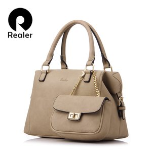 REALER  design handbag women casual tote bag female solid boston bag small shoulder messenger bags chain clutch purse