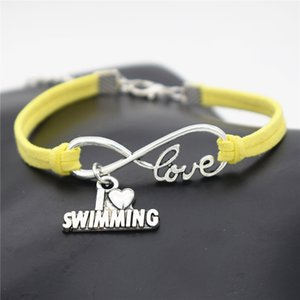 DIY Handmade Accessory Women Men Yellow Leather Rope Bracelet Bangles High Quality Infinity Love I Love Swimming Jewelry Wristbands New 2018