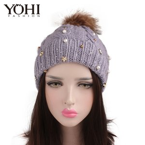 New fashion Twist Handmade Beaded Rhinestone Wool Ball Wool Cap Warm Knit Hat Woman Outdoor Casual Cap Femme Ski Warm Hat