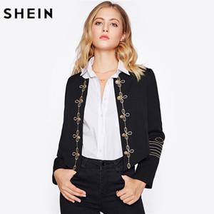 Atacado-SHEIN Botão de Ouro Embelezado Bordado Blazer Preto Elegante Casaco e Blazers Blazer Gola de Trabalho Equipado Blazer