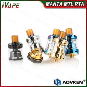 100% Original Advken MANTA MTL RTA Atomizador 3 ml / 2 ml Super Simples DIY Bobina MTL RTA 24mm de Diâmetro 510 PEI Drip Tip RTA Top-Recheio