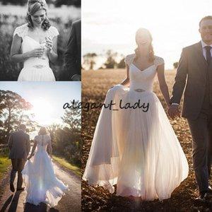 Sheer Spring Wedding Dresses Cap Sleeve Romantic A line Beads Sash Garden Beach Summer Bridal Gowns Lace Chiffon Custom Cheap Plus Size