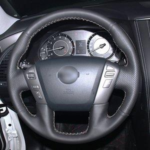 Mewant DIY Black Genuine Leather Steering Wheel Covers Wrap for Nissan Patrol Armada NV Cargo NV Passenger (US) Titan Infiniti QX56 QX80