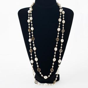 Mode lange simulierte perlenketten für frauen gold farbe kette strang perlen damen pullover halsketten schmuck MDJB206 D18111405