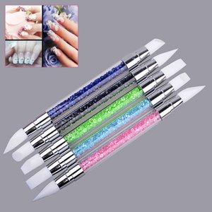 Оптовая много 5 шт силиконовый наконечник УФ-гель акриловые щетки искусства ногтя резьба двойной конец пера набор