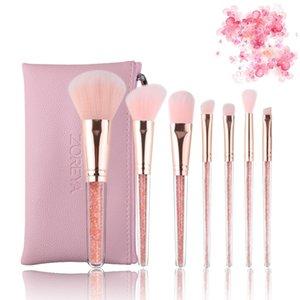Novos pincéis de maquiagem 7 PCS Professional ZOERYA Fluxo Areia escova broca Composição Com rosa Bag