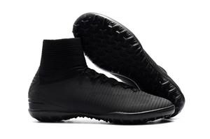Plein noir Mercurial Superfly V TF Enfants Soccer Football Crampons Gazon Indoor Femmes Football Chaussures