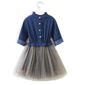 Envío gratis 3-8 años de edad ropa de bebé niñas volantes mangas largas Denim malla patchwork vestido 2 Color lindo princesa falda H061