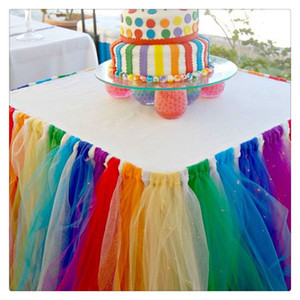 Table Skirts Cover Table Cloth for Girl Princess Party Baby Shower Slumber Party Wedding Birthday Parties Home Decoration