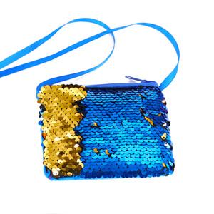 8 pz / alta qualità sirena paillettes portamonete portamonete capretto ragazza scintillante borsa della borsa partito cerniera pochette pacchetto auricolare