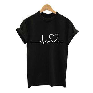 Camiseta de verano Heartbeat Love Impreso Mujeres Camisetas Casual Verano Algodón Manga corta Camiseta de manga corta Mujeres Sweety Tops Plus Size