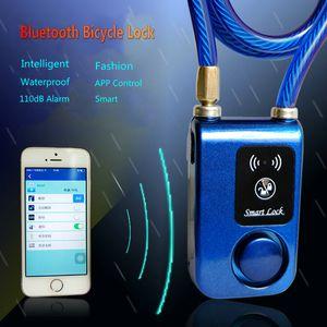 Bicycle Lock Bluetooth Intelligent Phone APP Control Smart Alarm Anti Theft Chain Waterproof 110dB Alarm Bicycle Lock Outdoor