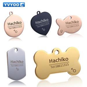 YVYOO Gratuite Pet Dog chat collier accessoires Décoration Pet ID Chien Tags Colliers en acier inoxydable chat tag personnalisé tag