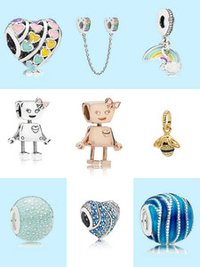 MOQ 20 шт. Charm Bears Bella Bot Rainbow Cloud Love Heart Bee Bee Beeant Apple Bead Charm Fit для браслета Bangle DIY Ювелирные изделия