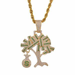 Хип-хоп золото серебро цвет кубический Циркон доллар США деньги дерево кулон ожерелье для мужчин замороженные Bling ювелирные изделия подарки