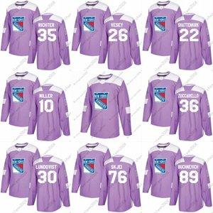 2018 Lutas Cancer Jersey 10 J.T. Miller 93 Mika Zibanejad 89 Pavel Buchnevich 20 Chris Kreider Nova Iorque Rangers Custom Hockey Jersey