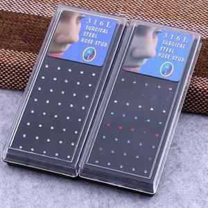 60PCS / set 1,8 milímetros Nariz prego Piercings Jóias Moda Body Piercing Jewelry Para pregos nariz menina das mulheres de aço inoxidável 316L atacado