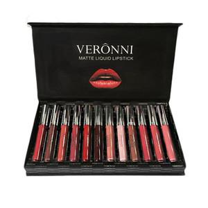 VERONNI Beauty Cosmetics 12pcs set Makeup Long Lasting Non Stick Cup Matte Lip Gloss Waterproof Long Lasting Matte Lipstick