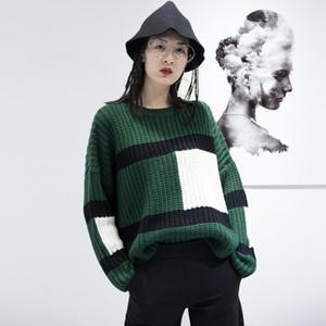 SuperAen Estilo Coreano Nova Camisola Mulheres 2017 Outono Costura Tamanho Pluz Mulheres Camisola de Algodão Moda Selvagem Mulheres Soltas Tops