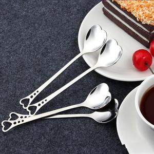 Exquis Métal Café Cuillères En Acier Inoxydable Amour Coeur Forme Cuillère Haute Qualité Scoop Mariage Parties Fournitures Outils 1hs ii
