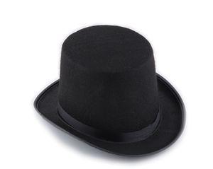 Ретро классический черный цилиндр магия шляпа Авраам Линкольн шляпы Маскарад партии одеваются Хэллоуин аксессуар высокий черный фетровая шляпа для мужчин женщин