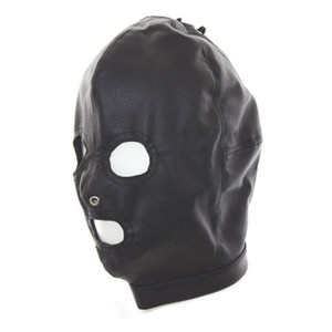 High Quality Black Full Hood GOTHIC PU Leather RESTRAINT Mask Cosplay #Q76