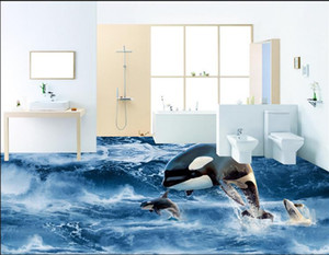 Реалистичные HD ванная комната 3D океан Дельфин Прыжки воды настил самоклеющиеся обои