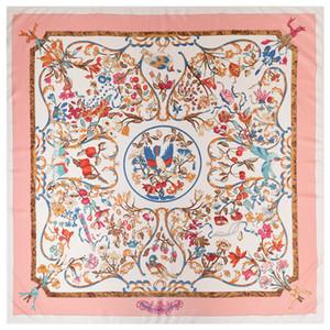 Platz Frauen Tier-Druck-Schal Joker rosa Blumen Vogel-Muster Schal Frauen Stola Foulard Femme Echarpe Große Twill Schals
