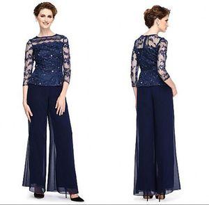 2019 Elegant Marineblau Mutter der Braut Applique Pant Suits Pailletten Plus Size Hochzeit Mutter Kleid Mit Sheer Jewel Neck