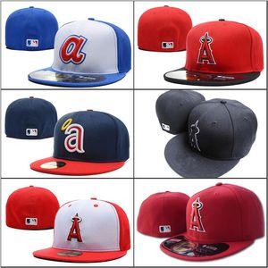 2018 New Men's Angels Red Couleur bonnet plat Brim brodé Une lettre logo équipe fans baseball Chapeaux taille anges complet fermé Chapeu marques