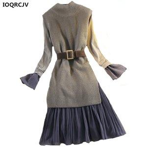Ioqrcjv 2018 new outono inverno mulheres dress knit pullover palheta mangas chiffon dress two-piece moda party dress mulheres k818
