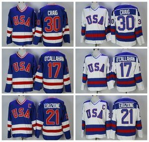 1980 USA Olympic Hockey maglie 30 Jim Craig 17 Jack O'Callahan 21 Mike Eruzione 80 The Miracle on Ice Vintage blu cucita Camicie