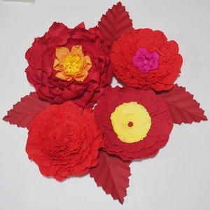 Dev Krep Kağıt Çiçekler Yapay Çiçekler Düğün Olay Backdrop Için 4 ADET + Bırakır 4 ADET Kreş Fotoğrafçılığı