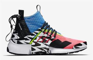 2018 date de sortie ACRONYM x Presto Mid Hommes Femmes Chaussures de course Rose Bleu Noir Hommes Baskets Authentique Avec OG Box AH7832-600