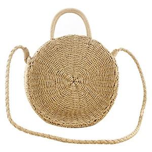 Women Beach Bag Round Straw Shoulder Summer Bag Wicker Knitted Basket Storage Bags
