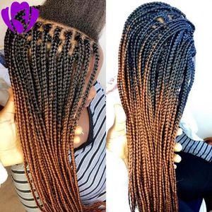 아기 머리를 가진 고품질 블랙 선염 갈색 합성 꼰 레이스 프런트 가발 여성 내열 섬유 머리 가발 프리미엄 브레이드 가발