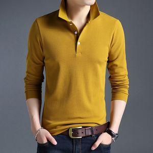 Moda Erkekler Polo Gömlek Katı Renk Slim Fit Polo Erkekler Uzun Kollu Merserize Pamuk Rahat Polos Gömlek Mens M-4xl
