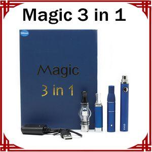 Magie 3 in 1 Kits Dry Herb Vaporizer Glaskugel-Vaporizer Evod Starter Kit E-Zigarette Batterie Vape Pen Kits