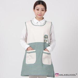 Eco-Friendly Tablier mode coréenne Tablier Bavette Tabliers femme manches Pucelle tabliers résistant aux taches Barber tablier vert de grille et de fleurs