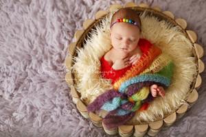 Mohair colorido Bebê Recém-nascido Envoltório Pano Saco de Dormir Crianças Photo Wrapper Lua Cheia Bebê Fotografado Pano 40 * 150 cm 2 cores
