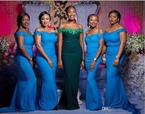 Custom Made South African sirène robes de demoiselle d'honneur appliques paillettes hors épaule demoiselle d'honneur robes invités bal robe plus la taille