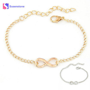 SUSENSTONE 2018 Fashion Link Chain Women Men Handmade Gift Charm 8 Shape Jewelry Infinity Bracelet Siver and Gold dropshipping