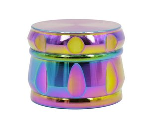 Zinc Alloy Four Layer Rainbow Color Drum Type Blue Colorful Chamfer TOBACCO GRINDER New Broken Smoke Detector