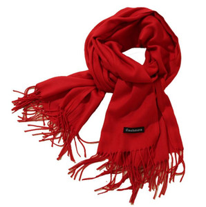 Scarf female autumn and winter new solid color tassel shawl thick warm Scarves