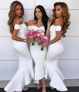 2019 White High Low невесты платья с плеча без рукавов Русалка Формальное партии платья Назад молния сшитое African невесты Смотри