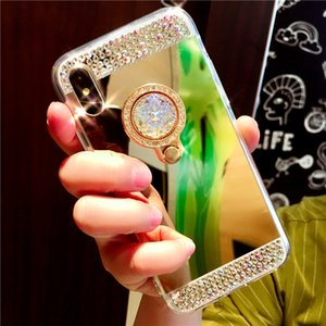Mode main Bling cristal de diamant Porte-étui rigide Support Béquille miroir pour iPhone 11 Pro Max XS XR X 8 7 6 6S Plus Anti-toc